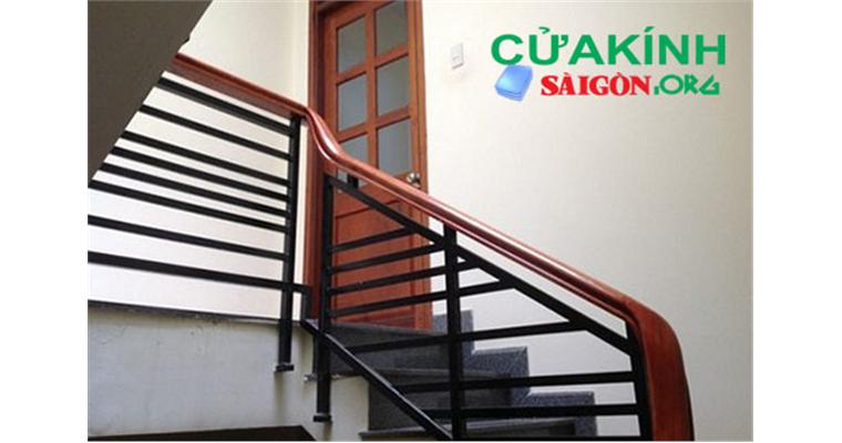 Tay vịn cầu thang gỗ mẫu đẹp kiểu dáng hiện đại tại hcm