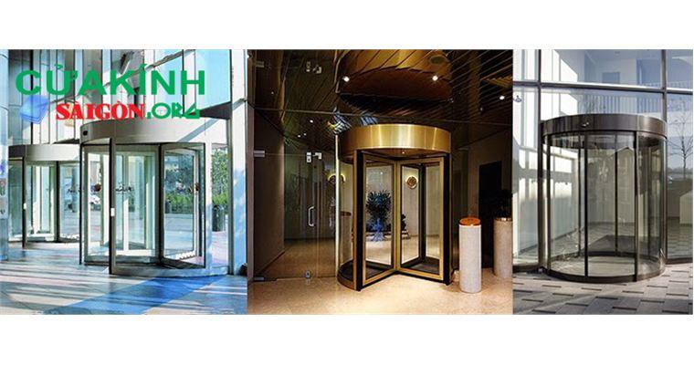 Cửa kính xoay cường lực đảm bảo an toàn tăng thẩm mỹ cho công trình