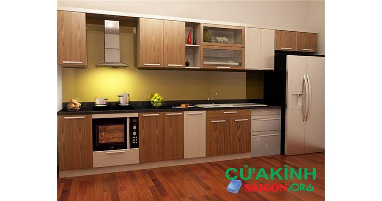 Mẫu tủ bếp nhôm kính giả vân gỗ sơn tĩnh đẹp nhất mọi thời đại