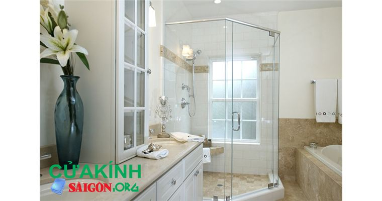 Vách tắm kính cửa mở quay 135 độ - Vách tắm kính cường lực