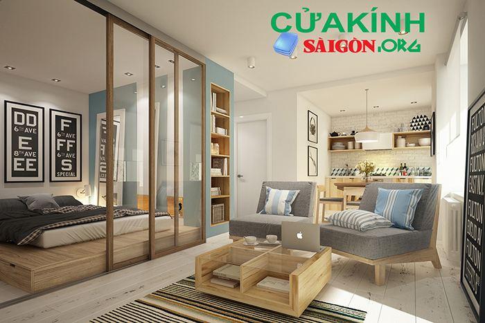 Ngăn phòng khách và phòng ngủ tạo không gian riêng biệt